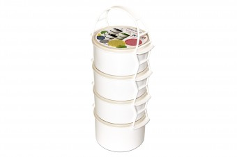 Plastic lunch box set 3x1,5 l + 1x2 l
