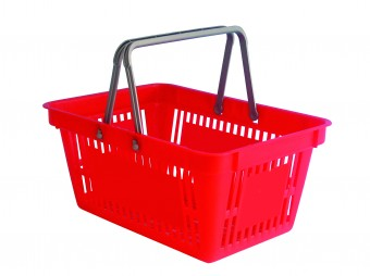 Plastic shopping basket with two handles (space for print)